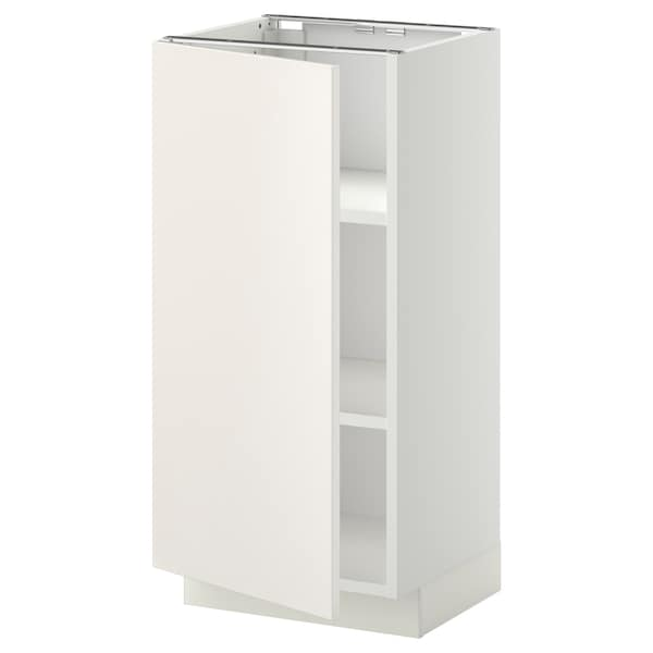 METOD Base cabinet with shelves, white/Veddinge white, 40x37 cm