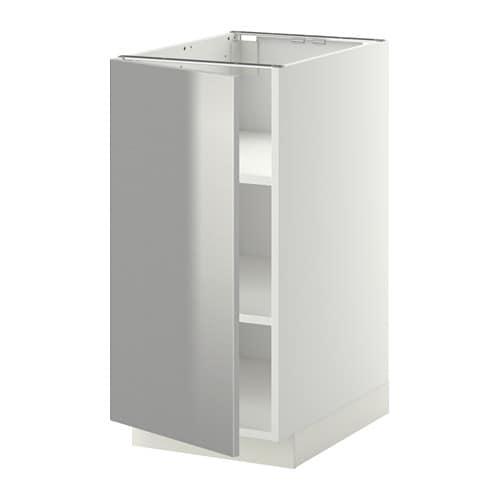 METOD Base cabinet with shelves - white, Grevsta stainless steel ...