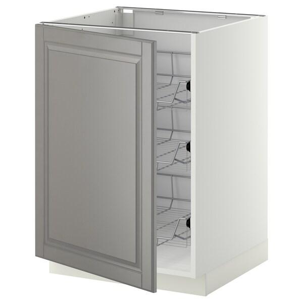 METOD خزانة قاعدة مع سلال سلكية, أبيض/Bodbyn رمادي, 60x60 سم