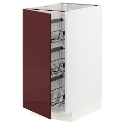 METOD Base cabinet with wire baskets, white Kallarp/high-gloss dark red-brown, 40x60 cm