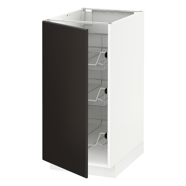 METOD Base cabinet with wire baskets, white/Kungsbacka anthracite, 40x60 cm