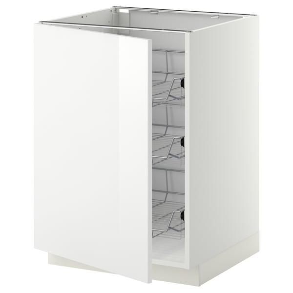METOD خزانة قاعدة مع سلال سلكية, أبيض/Ringhult أبيض, 60x60 سم