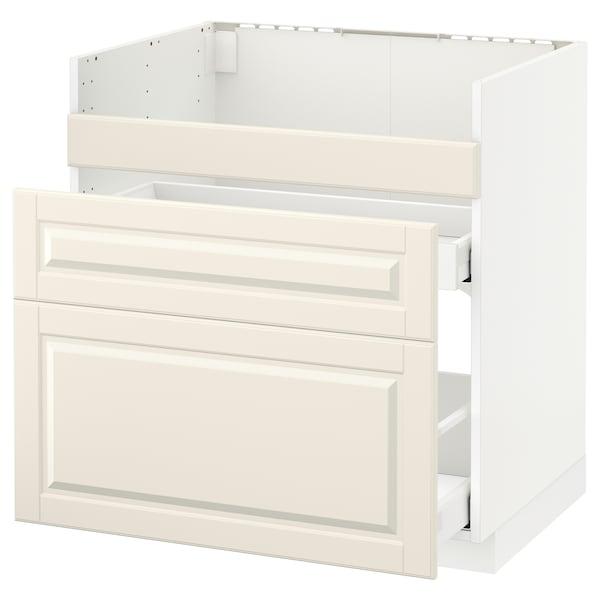 METOD قاعدة HAVSEN مع حوض/3 واجهات/درجين, أبيض/Bodbyn أبيض-عاجي, 80x60 سم