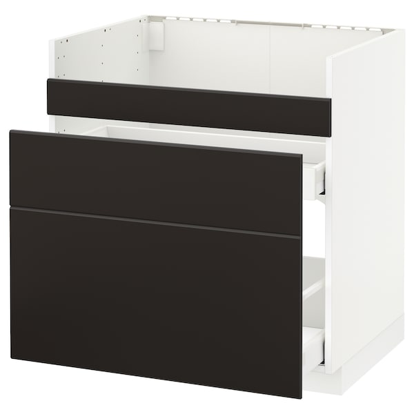 METOD قاعدة HAVSEN مع حوض/3 واجهات/درجين, أبيض Maximera/Kungsbacka فحمي, 80x60 سم