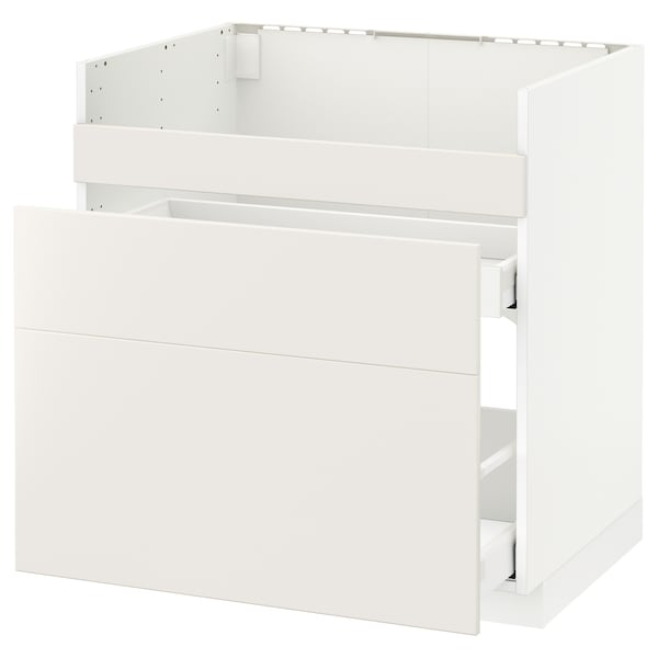 METOD قاعدة HAVSEN مع حوض/3 واجهات/درجين, أبيض Maximera/Veddinge أبيض, 80x60 سم