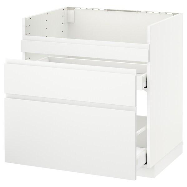 METOD قاعدة HAVSEN مع حوض/3 واجهات/درجين, أبيض Maximera/Voxtorp أبيض مطفي, 80x60 سم