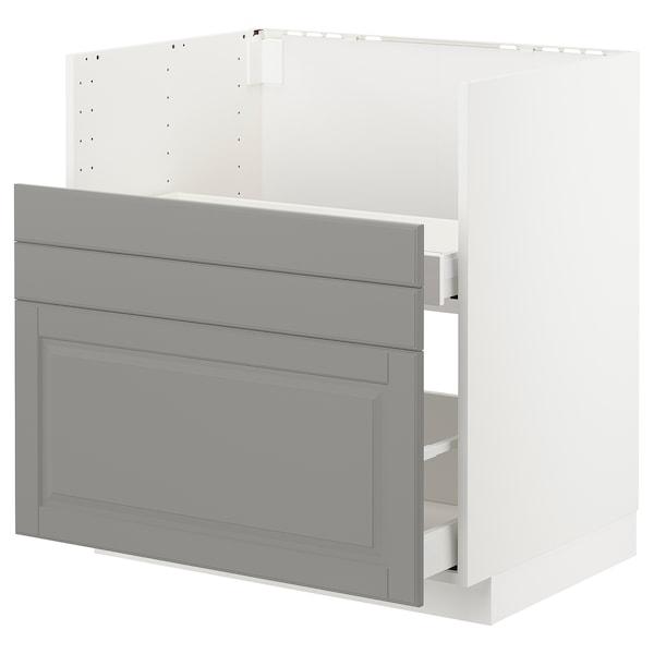 METOD قاعدة خزانة حوض غسيل BREDSJÖN, أبيض/Bodbyn رمادي, 80x60 سم