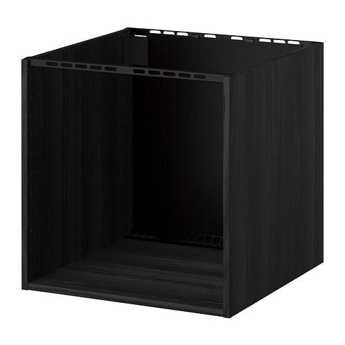 METOD Cabinet for built-in hob/sink, wood effect black