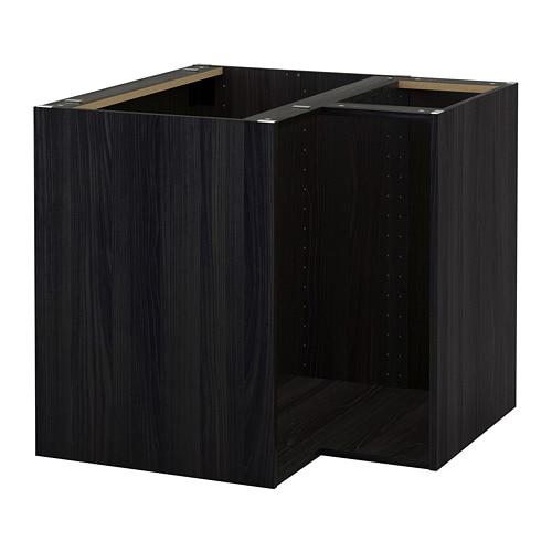 METOD Corner base cabinet frame, wood effect black