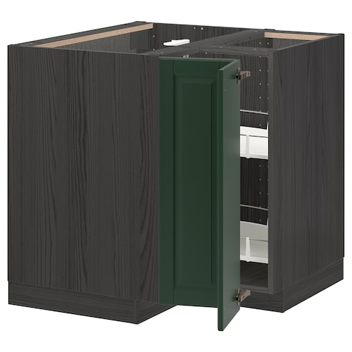 METOD corner base cabinet with carousel black/Bodbyn dark green 87.5 cm 88.0 cm 87.5 cm 80.0 cm
