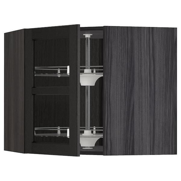 METOD خ. حائط زاوية+رف دوّار/ب. زجاجي, أسود/Lerhyttan صباغ أسود, 68x60 سم