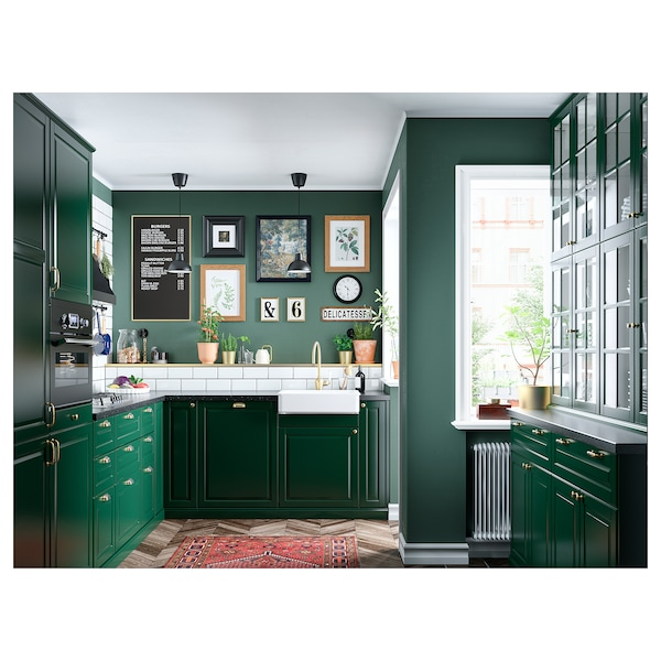 METOD خ. حائط زاوية+رف دوّار/ب. زجاجي, أبيض/Bodbyn أخضر غامق, 68x60 سم