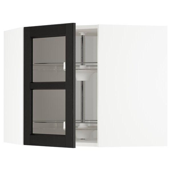 METOD خ. حائط زاوية+رف دوّار/ب. زجاجي, أبيض/Lerhyttan صباغ أسود, 68x60 سم