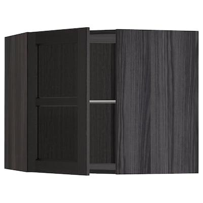 METOD Corner wall cab w shelves/glass dr, black/Lerhyttan black stained, 68x60 cm