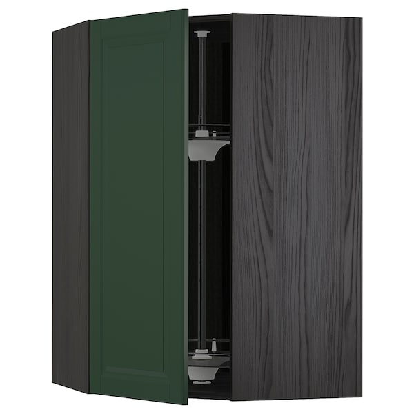 METOD Corner wall cabinet with carousel, black/Bodbyn dark green, 68x100 cm
