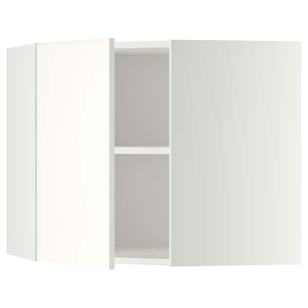 METOD Corner wall cabinet with shelves, white/Häggeby white, 68x60 cm