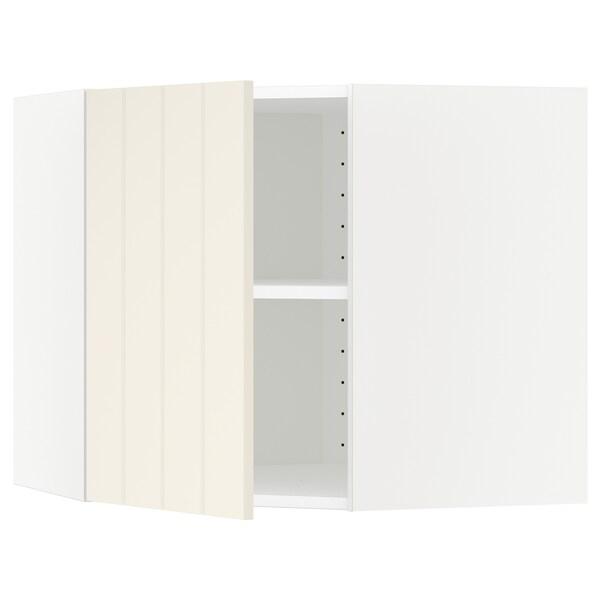 METOD Corner wall cabinet with shelves, white/Hittarp off-white, 68x60 cm