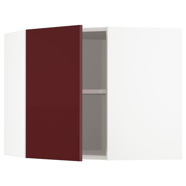 METOD Corner wall cabinet with shelves, white Kallarp/high-gloss dark red-brown, 68x60 cm