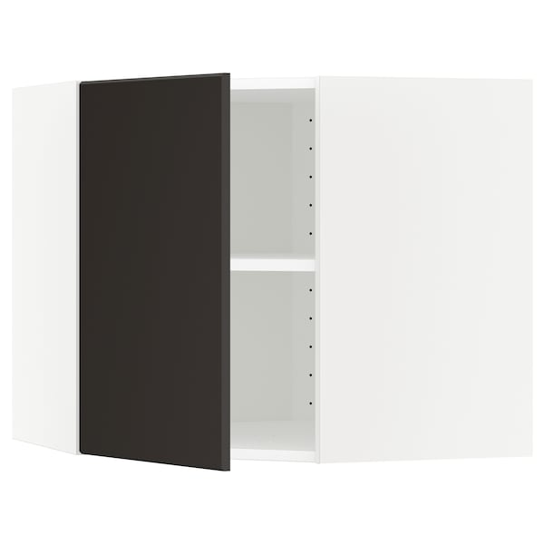 METOD corner wall cabinet with shelves white/Kungsbacka anthracite 67.5 cm 67.5 cm 60.0 cm