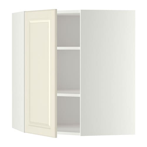 Metod Corner Wall Cabinet With Shelves White Bodbyn Off