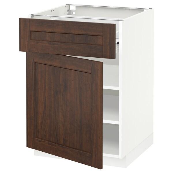 METOD / FÖRVARA Base cabinet with drawer/door, white/Edserum brown, 60x60 cm