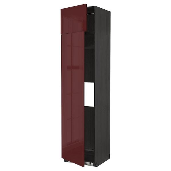 METOD خزانة عالية لثلاجة أو فريزر +2 باب, أسود Kallarp/لامع أحمر-بني غامق, 60x60x240 سم