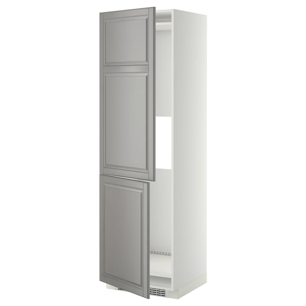 METOD Hi cab f fridge or freezer w 2 drs, white/Bodbyn grey, 60x60x200 cm