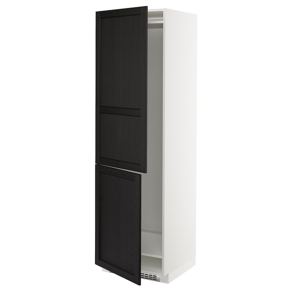 METOD Hi cab f fridge or freezer w 2 drs, white/Lerhyttan black stained, 60x60x200 cm