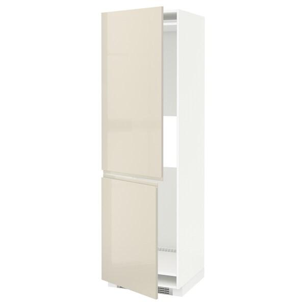 METOD Hi cab f fridge or freezer w 2 drs, white/Voxtorp high-gloss light beige, 60x60x200 cm
