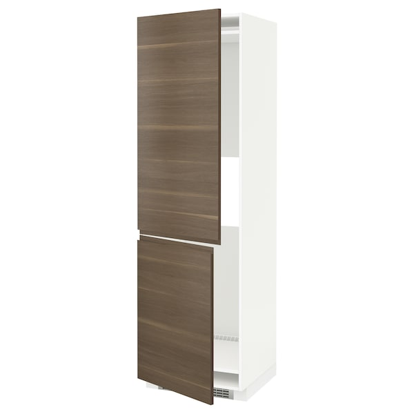 METOD Hi cab f fridge or freezer w 2 drs, white/Voxtorp walnut, 60x60x200 cm