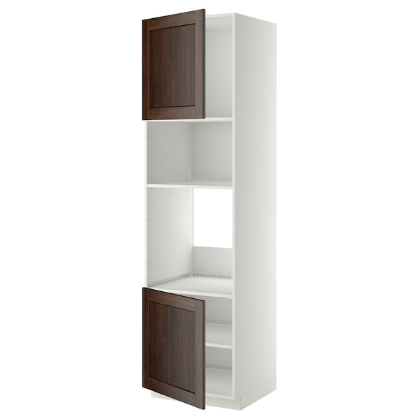 METOD خزانة عالية لفرن/ميكرويف بابين/أرفف, أبيض/Edserum بني, 60x60x220 سم