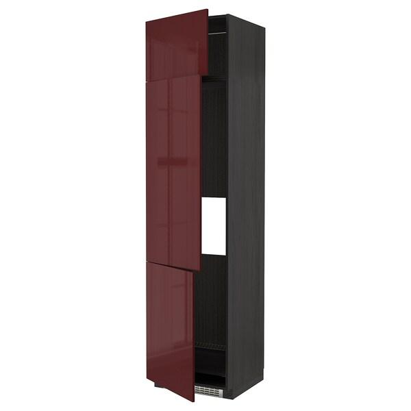METOD خزانة مرتفعة ثلاجة/فريزر مع 3 أبواب, أسود Kallarp/لامع أحمر-بني غامق, 60x60x240 سم