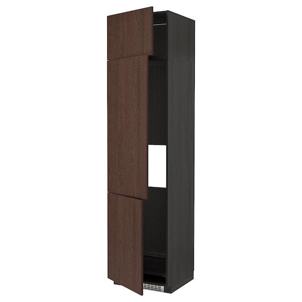 METOD خزانة مرتفعة ثلاجة/فريزر مع 3 أبواب, أسود/Sinarp بني, 60x60x240 سم
