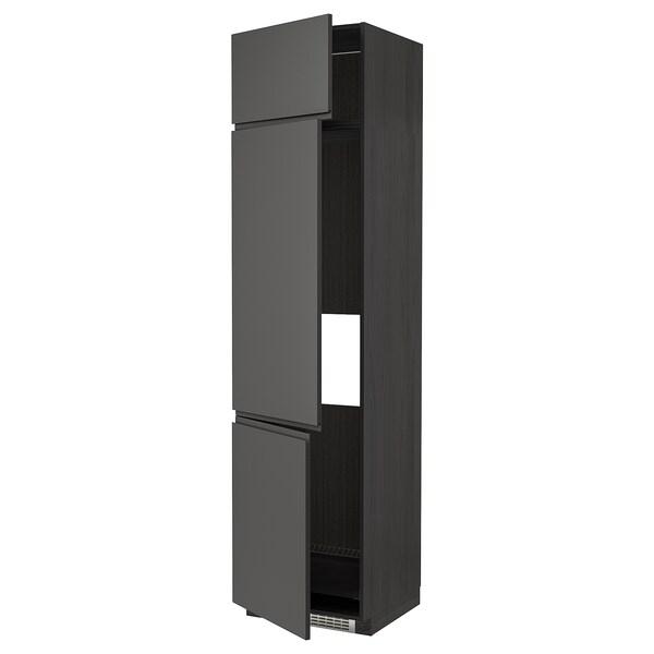METOD High cab f fridge/freezer w 3 doors, black/Voxtorp dark grey, 60x60x240 cm