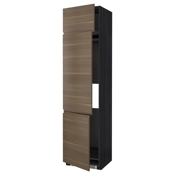 METOD خزانة مرتفعة ثلاجة/فريزر مع 3 أبواب, أسود/Voxtorp شكل خشب الجوز, 60x60x240 سم