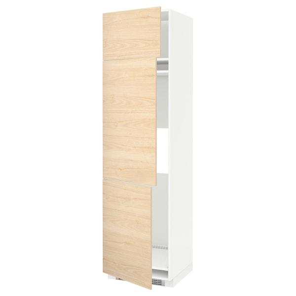 METOD خزانة مرتفعة ثلاجة/فريزر مع 3 أبواب, أبيض/Askersund مظهر دردار خفيف, 60x60x220 سم