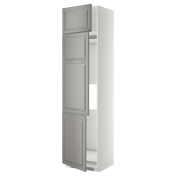METOD خزانة مرتفعة ثلاجة/فريزر مع 3 أبواب, أبيض/Bodbyn رمادي, 60x60x240 سم