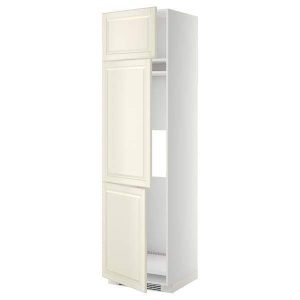 METOD خزانة مرتفعة ثلاجة/فريزر مع 3 أبواب, أبيض/Bodbyn أبيض-عاجي, 60x60x220 سم