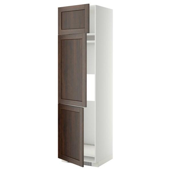 METOD خزانة مرتفعة ثلاجة/فريزر مع 3 أبواب, أبيض/Edserum بني, 60x60x220 سم