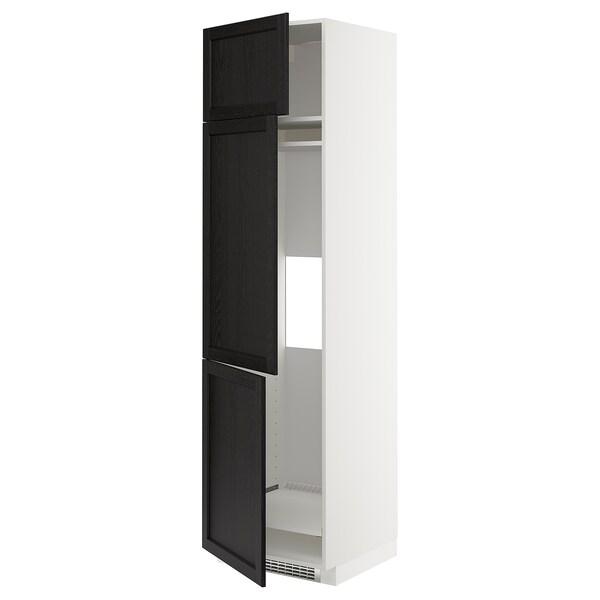 METOD خزانة مرتفعة ثلاجة/فريزر مع 3 أبواب, أبيض/Lerhyttan صباغ أسود, 60x60x220 سم