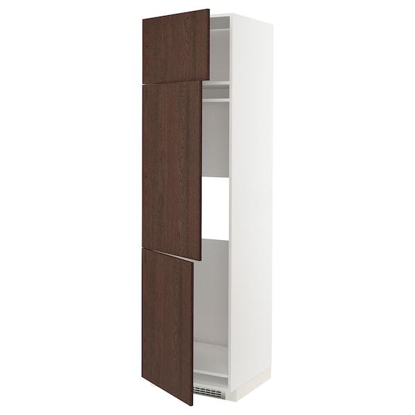 METOD خزانة مرتفعة ثلاجة/فريزر مع 3 أبواب, أبيض/Sinarp بني, 60x60x220 سم