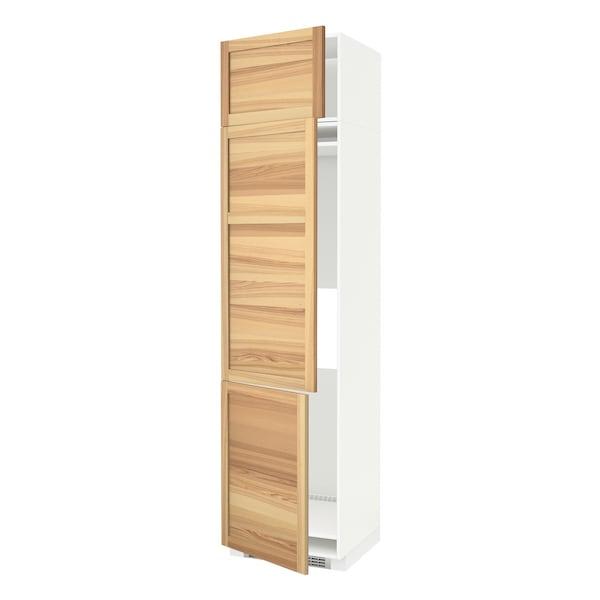 METOD خزانة مرتفعة ثلاجة/فريزر مع 3 أبواب, أبيض/Torhamn رماد, 60x60x240 سم