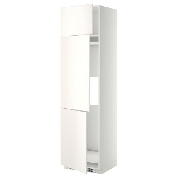 METOD خزانة مرتفعة ثلاجة/فريزر مع 3 أبواب, أبيض/Veddinge أبيض, 60x60x220 سم