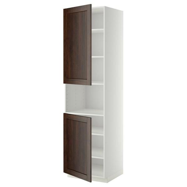 METOD High cab f micro w 2 doors/shelves, white/Edserum brown, 60x60x220 cm
