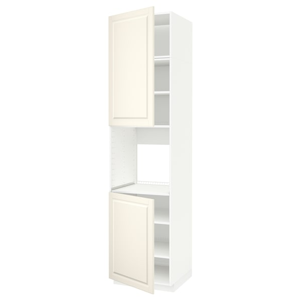 METOD High cab f oven w 2 doors/shelves, white/Bodbyn off-white, 60x60x240 cm