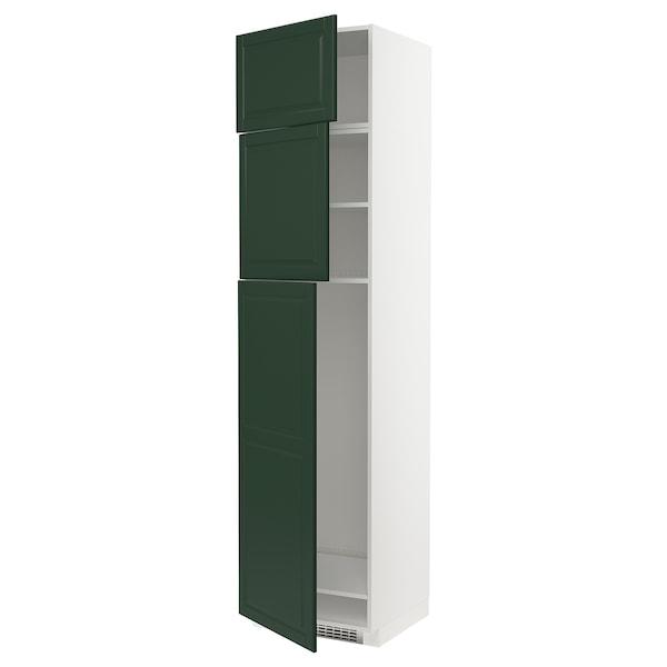 METOD خزانة عالية لثلاجة مع 3 أبواب, أبيض/Bodbyn أخضر غامق, 60x60x240 سم