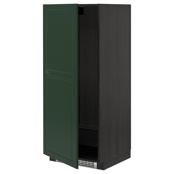 METOD خزانة مرتفعة للثلاجة/الفريزر, أسود/Bodbyn أخضر غامق, 60x60x140 سم