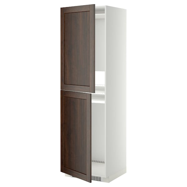 METOD High cabinet for fridge/freezer, white/Edserum brown, 60x60x200 cm