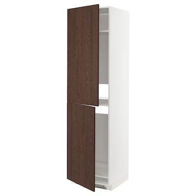 METOD خزانة مرتفعة للثلاجة/الفريزر, أبيض/Sinarp بني, 60x60x220 سم