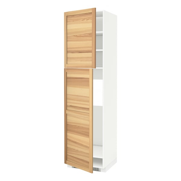 METOD High cabinet for fridge w 2 doors, white/Torhamn ash, 60x60x220 cm